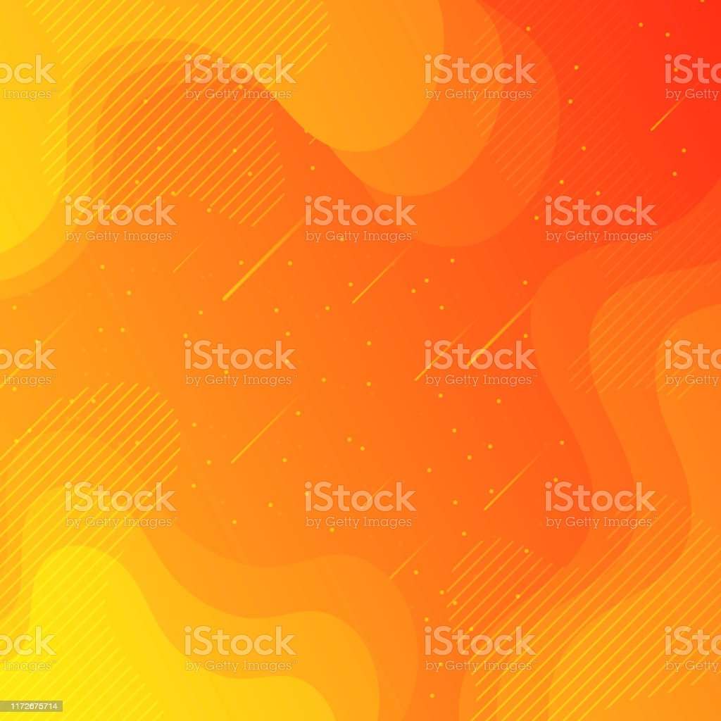 Trendy starry sky with fluid and geometric shapes - Orange Gradient - Royalty-free Abstract stock vector