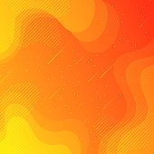 Modern and trendy background. Beautiful starry sky with fluid, geometric and gradient shapes. This illustration can be used for your design, with space for your text (colors used: Yellow, Orange, Red). Vector Illustration (EPS10, well layered and grouped), format (1:1). Easy to edit, manipulate, resize or colorize.