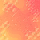 Trendy starry sky with fluid and geometric shapes - Orange Gradient