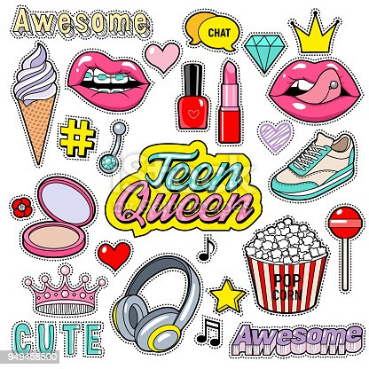 Trendy sticker pack heart, crown, lips, diamond. Cute fashion stickers kit. Doodle pop art sketch badges and pins. Vector hand drawn patches set