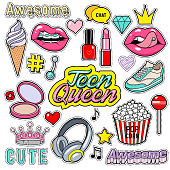 Trendy sticker pack heart, crown, lips, diamond. Cute fashion stikers kit. Doodle pop art sketch badges and pins. Vector hand drawn patches set