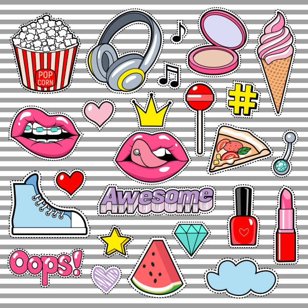 Trendy sticker pack heart, crown, lips, sneakers, cloud, diamond. Cute fashion stickers kit. Doodle pop art sketch badges and pins. Vector hand drawn patches set vector art illustration