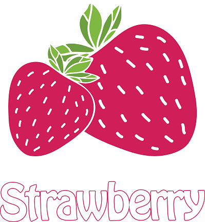 Trendy strawberry symbol. Text and illustration in flat design