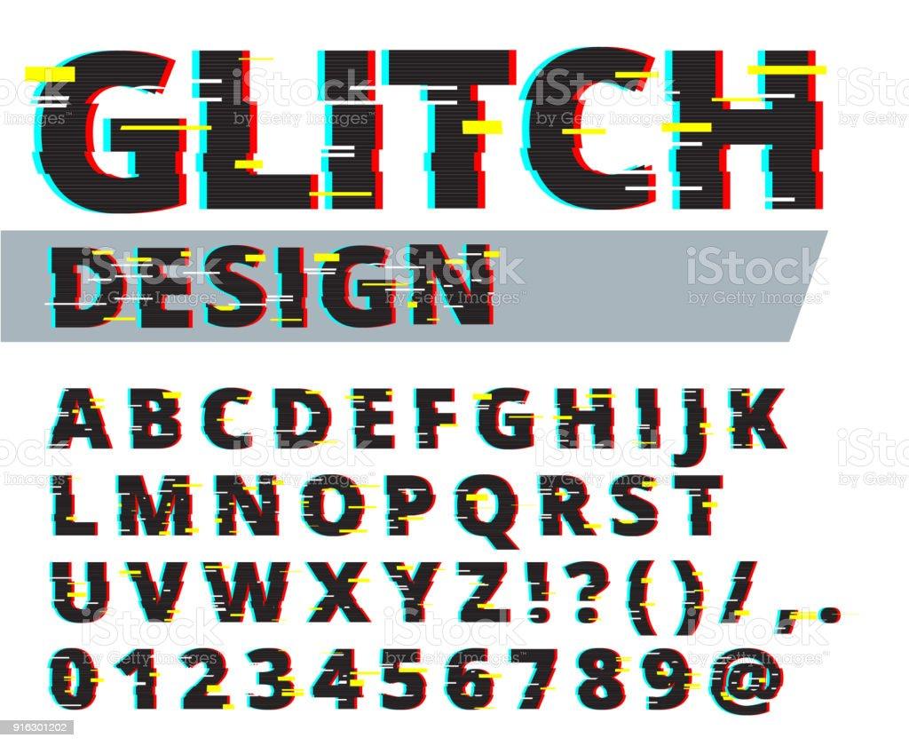 7cc22e3f1 Tipo de falha distorcida de estilo moderno. Ilustração em vetor letras e  números. Projeto
