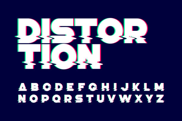 trendy style distorted glitch typeface - alphabet designs stock illustrations