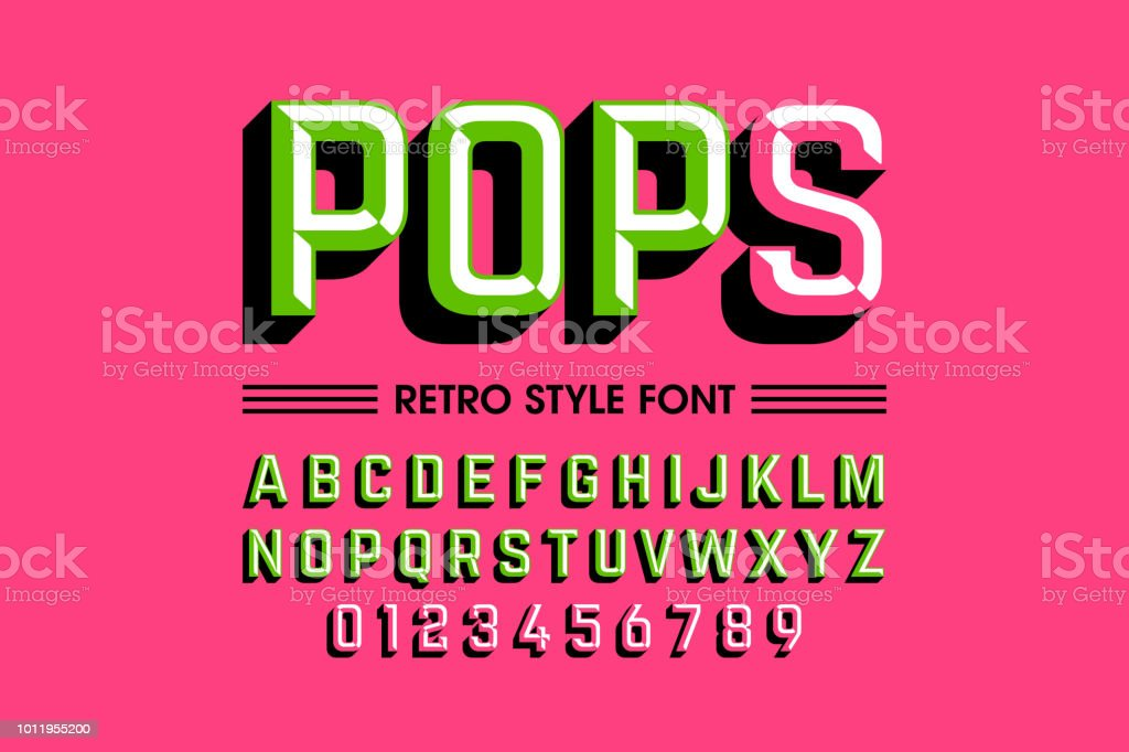 Trendy style pop art font royalty-free trendy style pop art font stock illustration - download image now