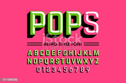 Trendy style pop art font design, alphabet letters and numbers vector illustration