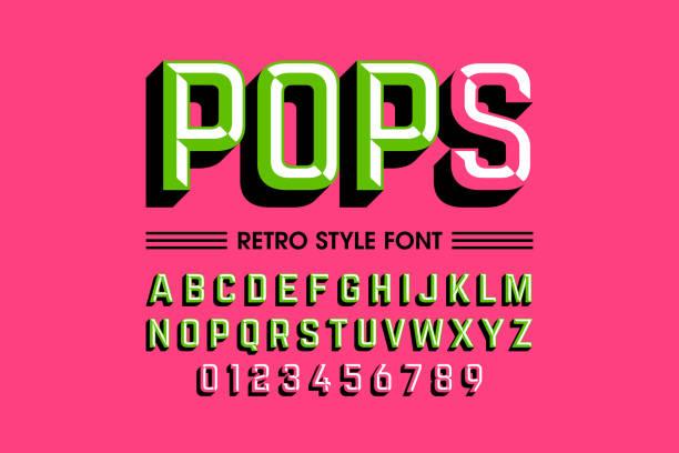 Trendy style pop art font vector art illustration