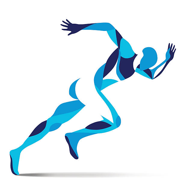 stockillustraties, clipart, cartoons en iconen met trendy stylized illustration movement, running man, line vector silhouette of running man - atleet