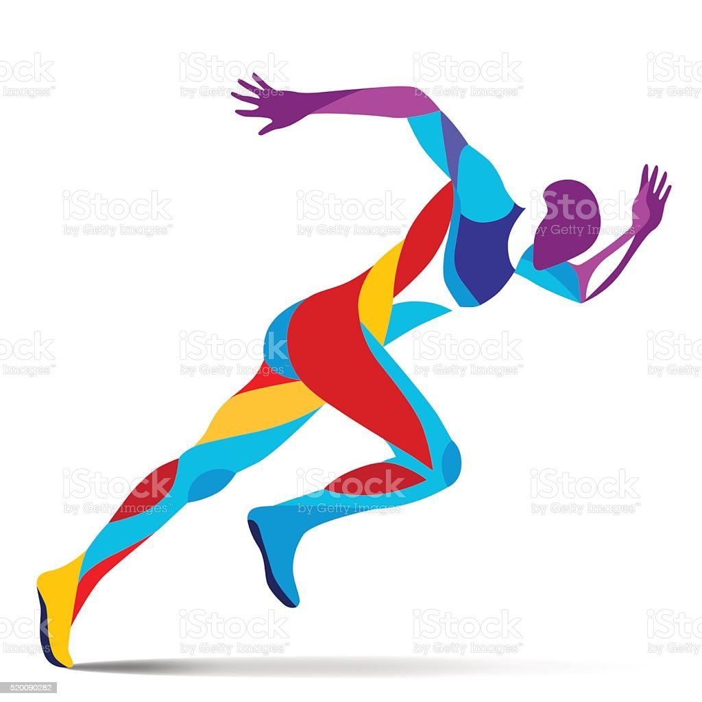 Trendy stylized illustration movement, running man, line vector silhouette of running man vector art illustration