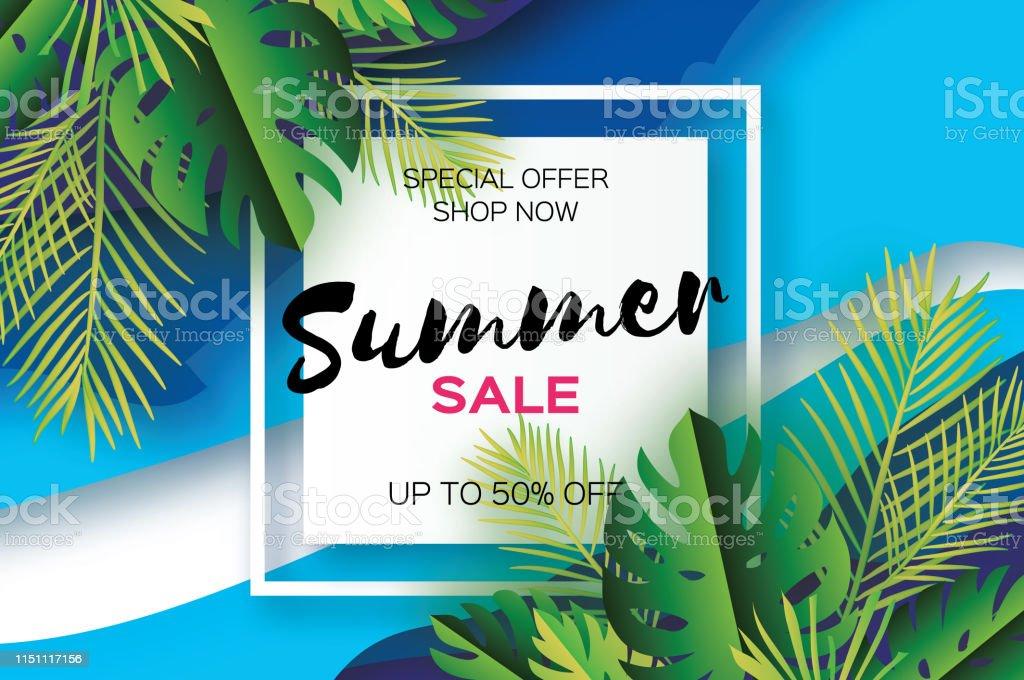 Trendy Summer Sale Template Banner Paper Cut Art Tropical