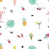 Trendy summer seamless pattern with  flamingos and geometric elements. The template for the cover fabric, books. Vector illustration