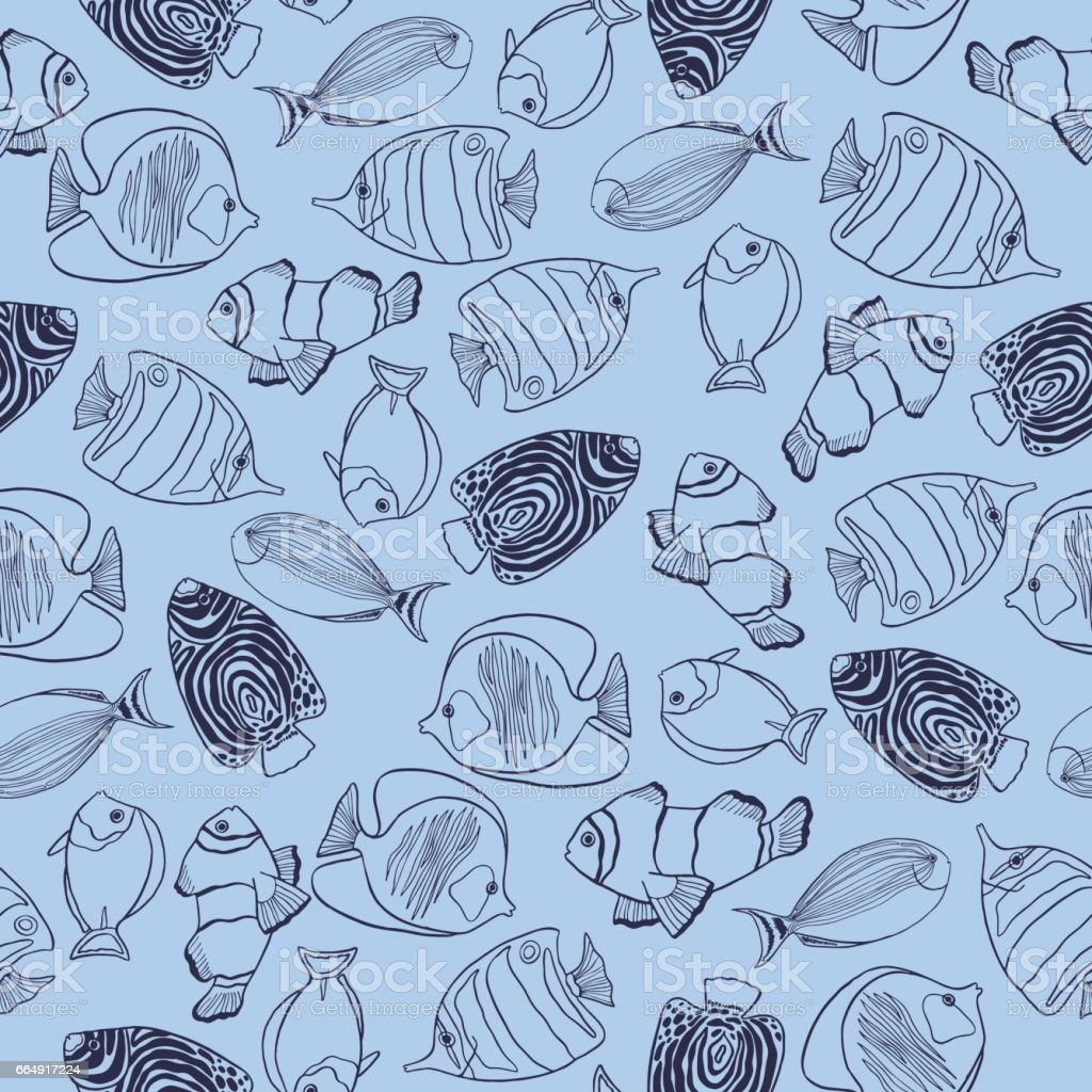 Trendy summer seaweed design. Seamless vector pattern. trendy summer seaweed design seamless vector pattern - immagini vettoriali stock e altre immagini di acqua royalty-free