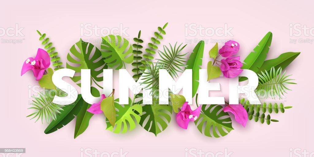 Trendy yaz tropikal bırakır. Tropikal bitki örtüsü ile yeşil arka plan. Kağıt kesti. Vektör tasarımı vektör sanat illüstrasyonu