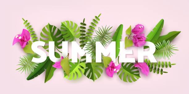 Moda verano Tropical deja. Fondo abstracto verde con follaje tropical. Cortar el papel. Diseño vectorial - ilustración de arte vectorial