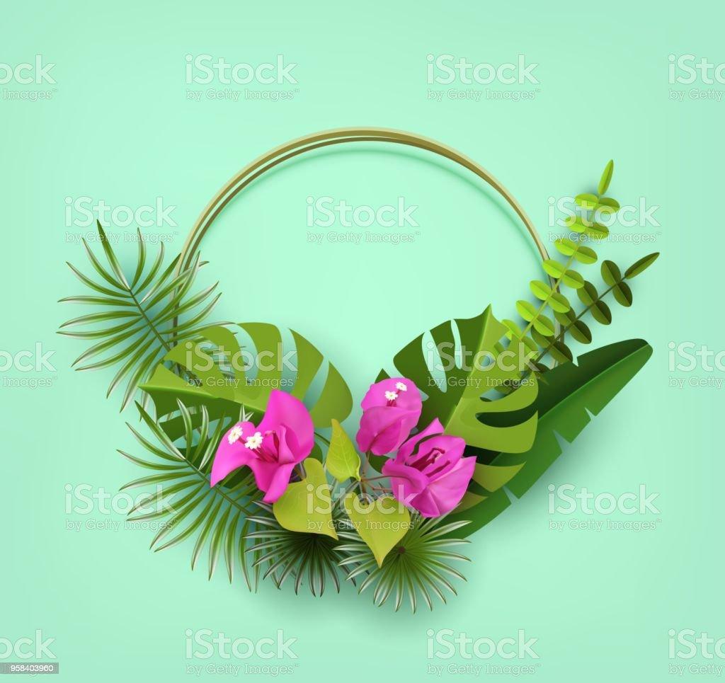 Trendy yaz tropikal yaprak, bitkiler ve çiçekler Begonvil. Dekoratif Çiçeklik. Kağıt kesti. Vektör tasarımı vektör sanat illüstrasyonu