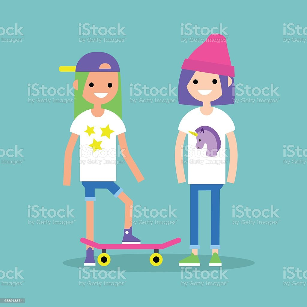 Trendy teenage girls with dyed hair wearing bright casual clothes vector art illustration