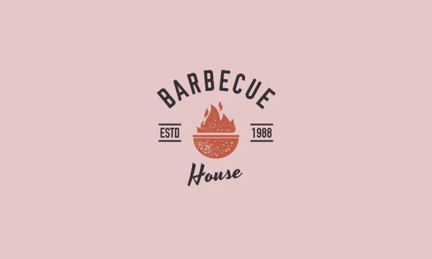 ilustrações de stock, clip art, desenhos animados e ícones de trendy textured barbecue logo. minimal design. vintage poster, badge. retro typography. vector illustration. - meat texture