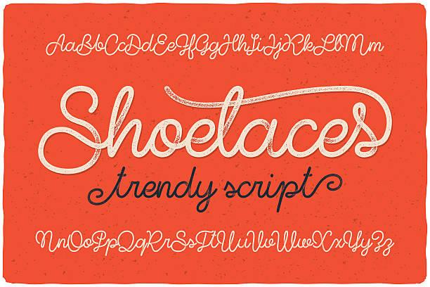 "Trendy textured one line handwritten font script named ""Shoelaces"" Trendy textured one line handwritten font script named ""Shoelaces"" alphabet drawings stock illustrations"