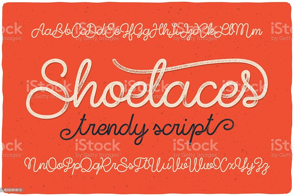 Trendy textured one line handwritten font script named 'Shoelaces' vector art illustration