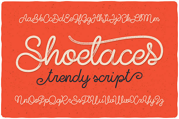 "trendy textured one line handwritten font script named ""shoelaces"" - alphabet drawings stock illustrations"