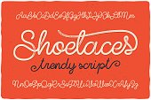 Trendy textured one line handwritten font script named 'Shoelaces'