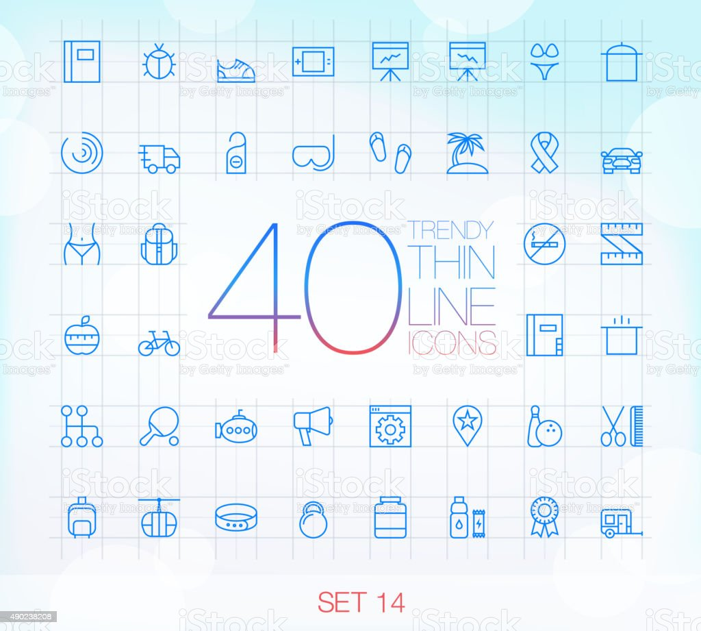 40 Trendy Thin Icons for web and mobile Set 14 vector art illustration