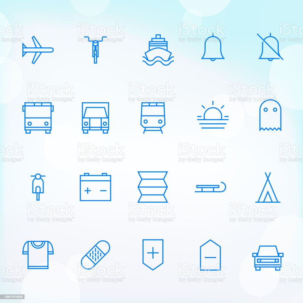20 Trendy Thin Icons for web and mobile Set 20 vector art illustration