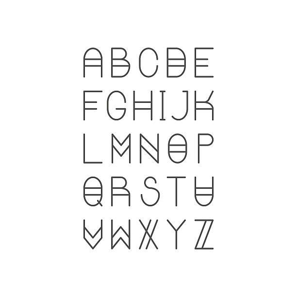 illustrations, cliparts, dessins animés et icônes de tendance fine ligne police. or proportion serif caractères. amérique latine - polices ligne fine