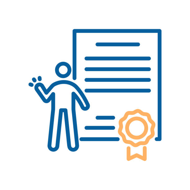 Trendy thin line icon of a person celebrating his success with a diploma or certificate paper with a seal of approval. Vector illustration for concepts of professional or academic success. Quality or degree Certification vector eps10 qualification round stock illustrations