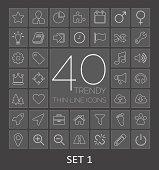 40 Trendy Thin Line Icons. Set 1