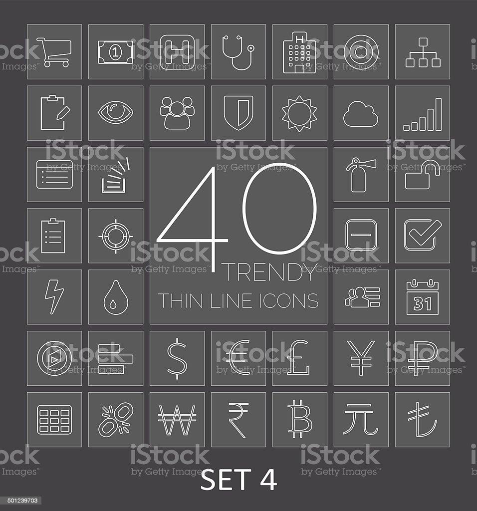 40 Trendy Thin Line Icons. Set 4 vector art illustration