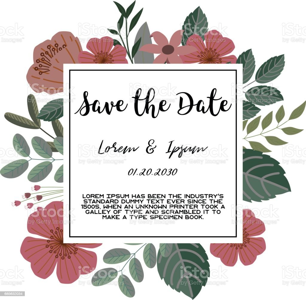 Trendy tropical jungle style vector invitation template textured trendy tropical jungle style vector invitation template textured leaves flower background save the date stopboris Choice Image