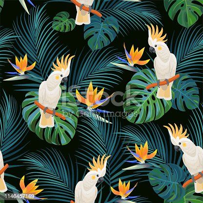 Trendy tropical pattern with parrots and  exotic flowers. Vector seamless texture.
