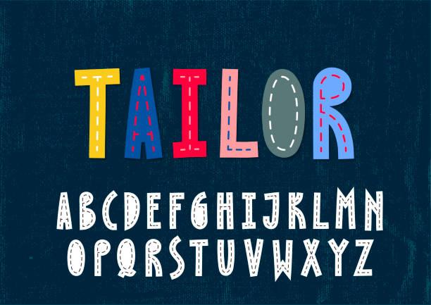 illustrazioni stock, clip art, cartoni animati e icone di tendenza di trendy unusulal uppercase alphabet. imitation of the sewn fabric letters. - pezze di stoffa
