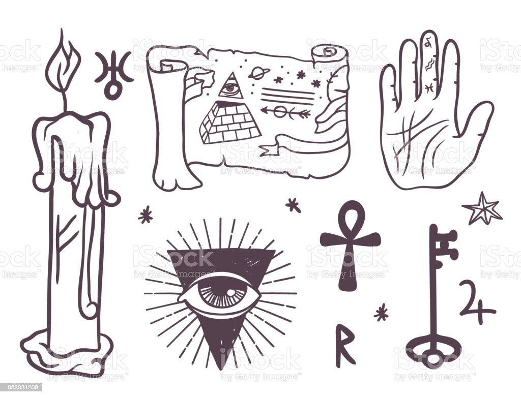 Trendige Esoterischen Vektorsymbolen Skizze Handgezeichnete Religion ...