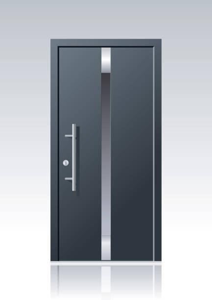 trendy vector front door trendy dark grey vector front door with glass windows and steel applications front door stock illustrations