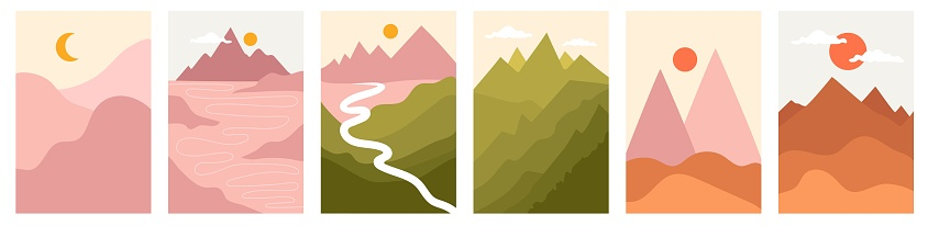 Trendy vector illustration backgrounds with colorful nature landscapes. Hills, mountains, clouds, sun, moon and road.
