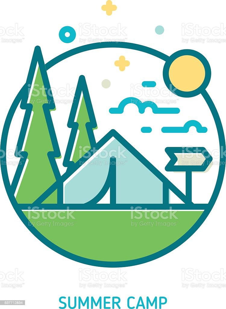 Trendy Vector Line Summer Camp Icon Stock Vector Art & More Images ...