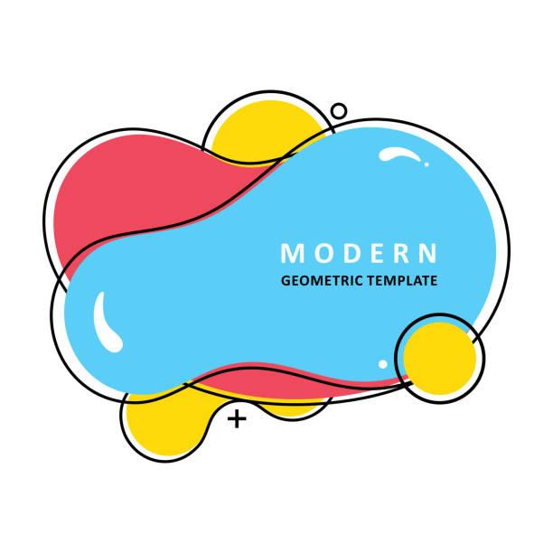 ilustrações, clipart, desenhos animados e ícones de pontos vibrantes na moda. ondas coloridas abstratas. molde moderno do vetor.  forma líquida. projeto do ameba do mosaico - organic shapes