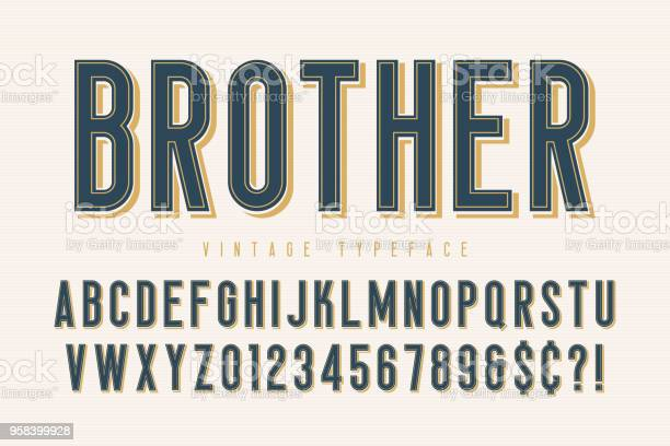 Trendy vintage display font design alphabet typeface vector id958399928?b=1&k=6&m=958399928&s=612x612&h=ekgjsanb5edzfn4sl1y7xbdwff1uyruwcdw3eht ve8=