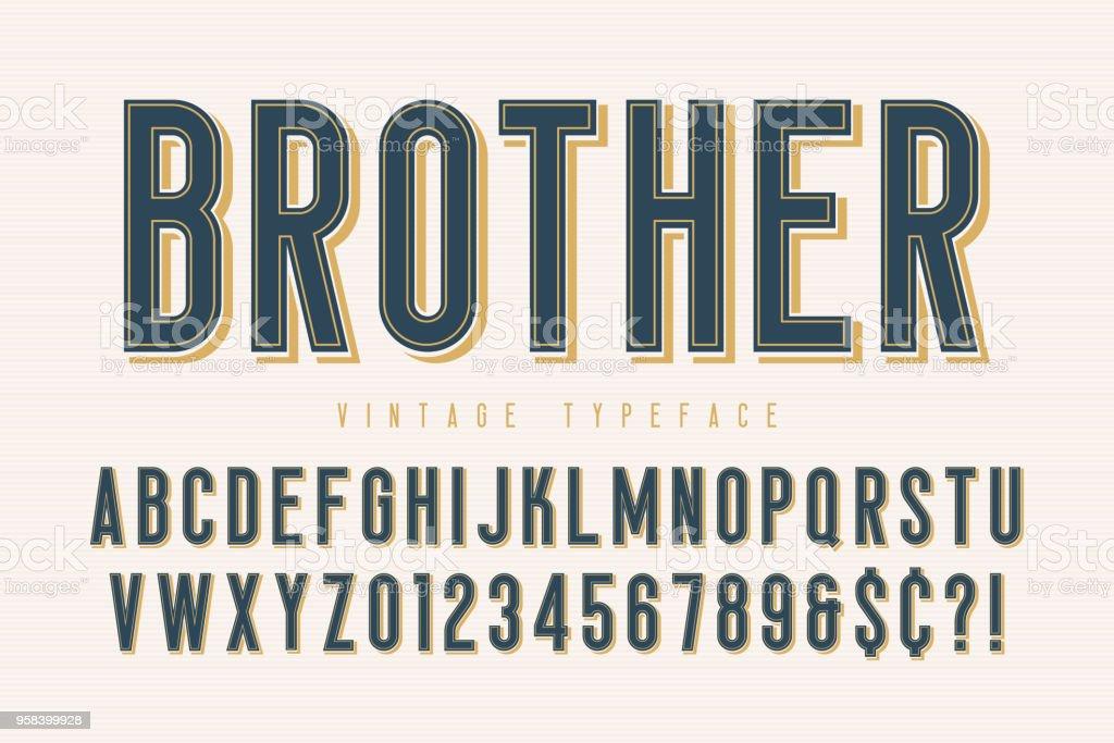 Trendy vintage display font design, alphabet, typeface vector art illustration