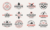 istock Trendy vintage  templates. Set of 12 emblems with design elements for restaurant business. Retro  or poster for Barbecue, Beer house, Steak House, Restaurant, butchery. Vector illustration 1208194015