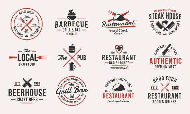 Trendy vintage  templates. Set of 12 emblems with design elements for restaurant business. Retro  or poster for Barbecue, Beer house, Steak House, Restaurant, butchery. Vector illustration Vector Illustration cooking borders stock illustrations