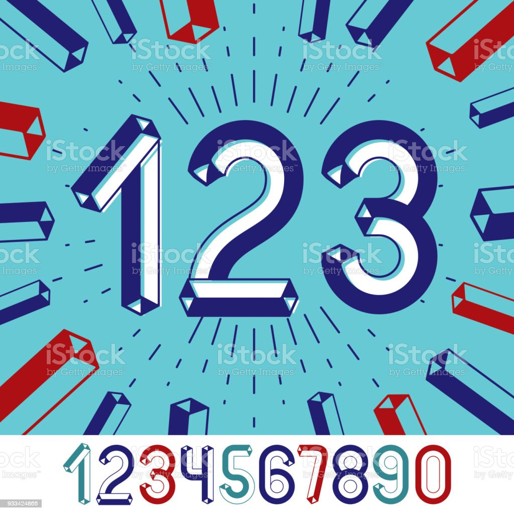 Trendy Vintage Vector Digits Numerals Collection Retro Numbers From