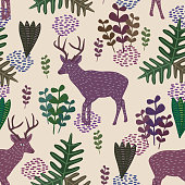 Trendy wildlife vector seamless pattern with hand drawn childish style of deer and floral plants. Nature fantasy watercolor background with pastel color for baby, children, and kids fashion clothing.