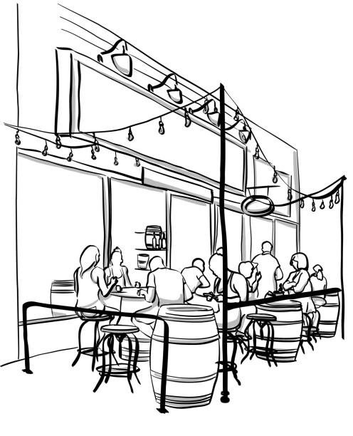 Trendy Wine Patio Wine barrels serving as tables at a local summer terrace busy with customers patio stock illustrations