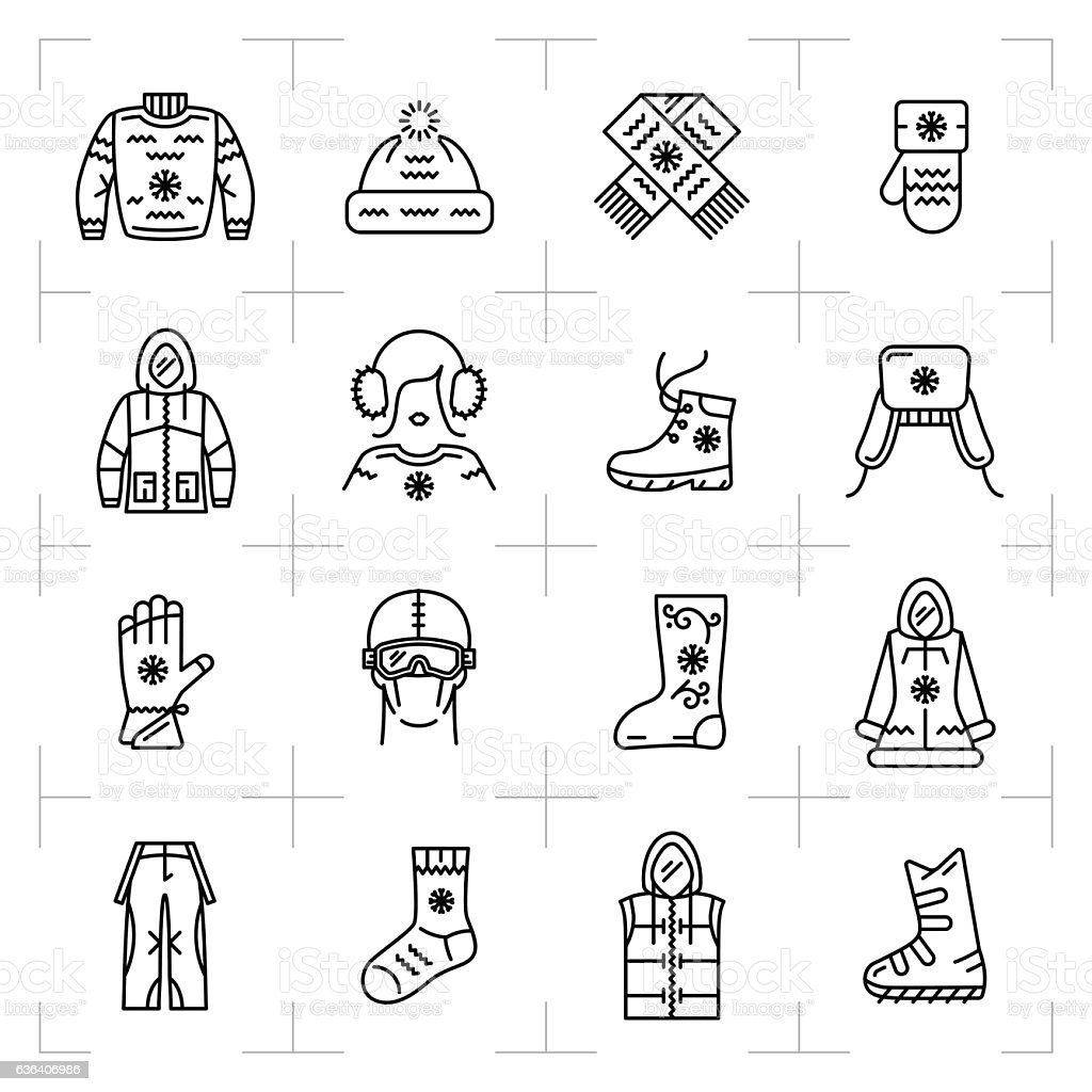 Trendy winter clothes isolated line icons set, sport, snowboarding, ski vector art illustration
