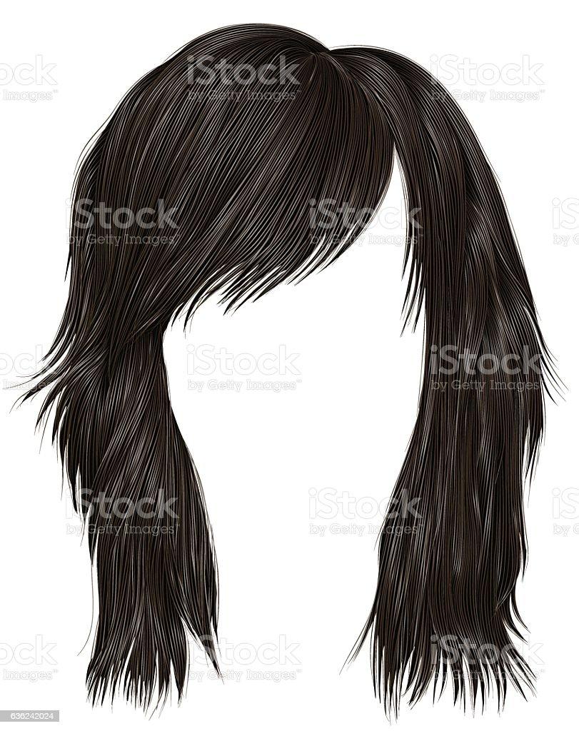 trendy  woman  hairs  dark  brown   color .  medium length . beauty style . vector art illustration