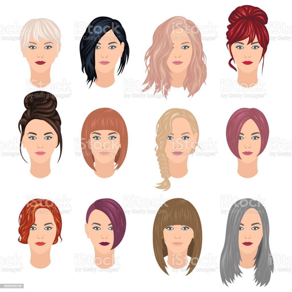 유행 여자 헤어스타일 땋은 머리에 대한 스톡 벡터 아트 및 기타 이미지